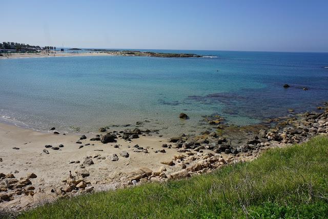 מים בצבע תכול טורקיז בחוף דור