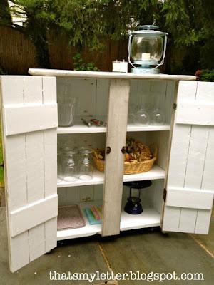 vintage storage cabinet interior