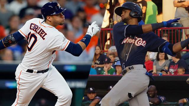 Yulieski y Lourdes Jr, el primero en las Grandes Ligas y el segundo en las ligas menores, disfrutaron de las mieles que implica titularse campeón.