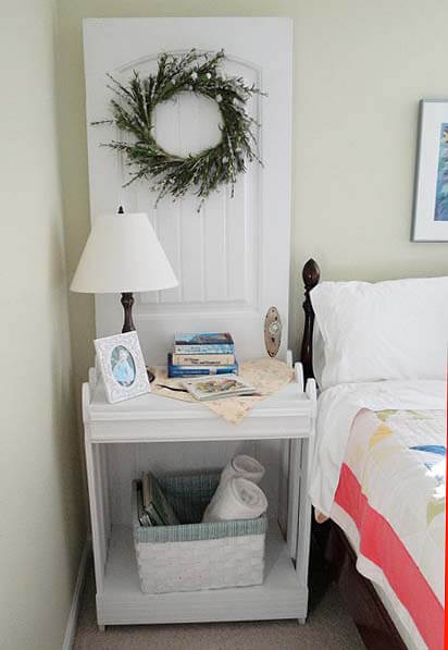 15 Brilliant DIY Ways To Upcycle Your Door - Nightstand