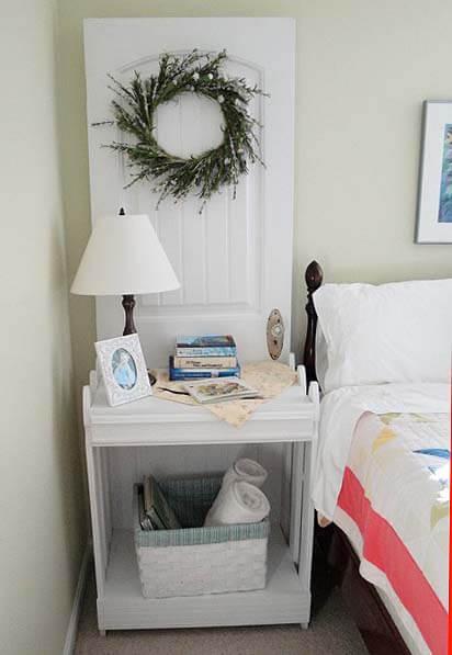 15 Brilliant DIY Ways To Upcycle Your Door - Nightstand