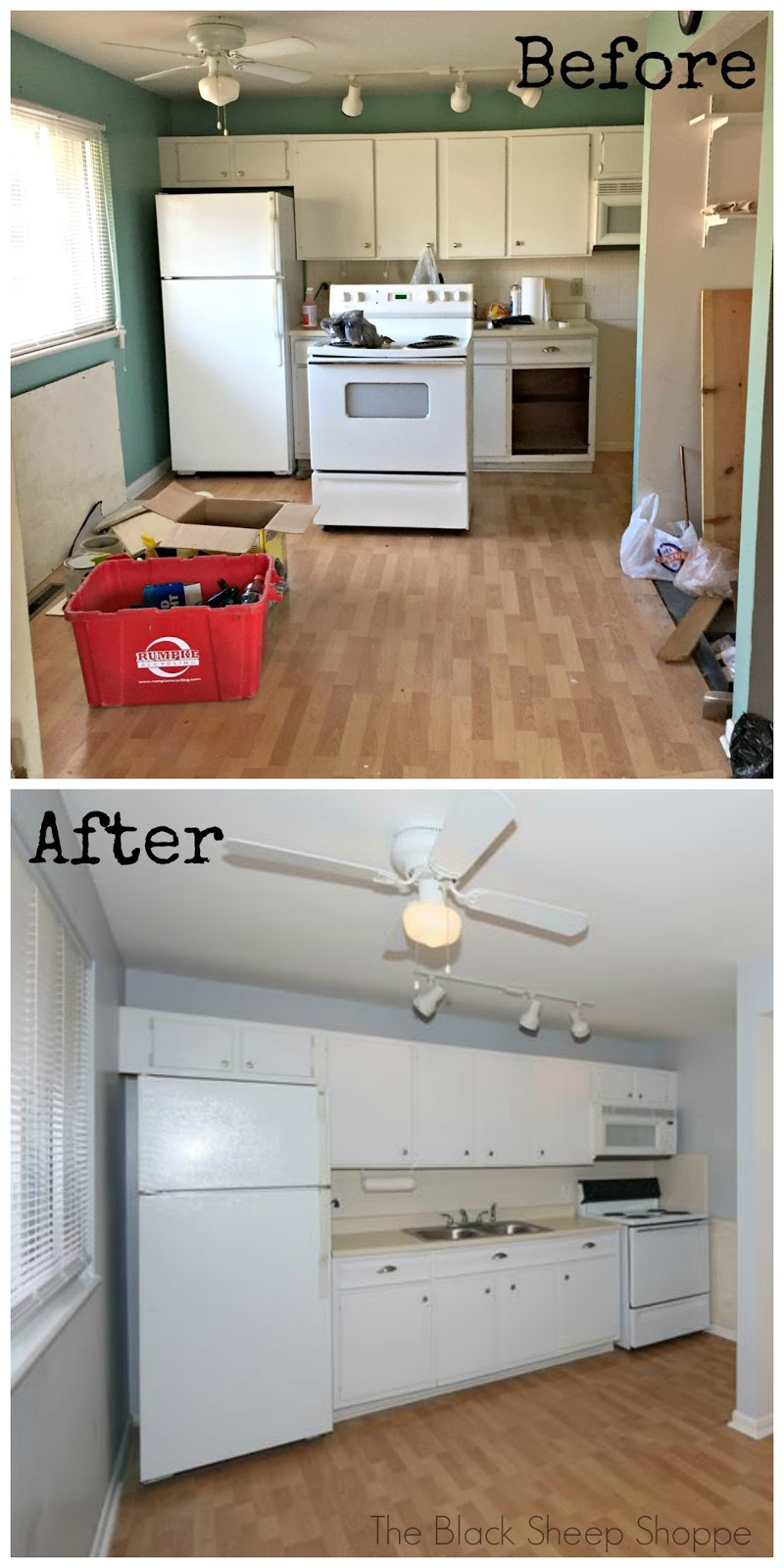 Rental house kitchen before and after
