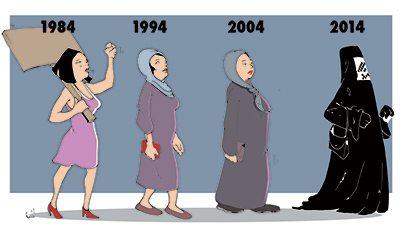 Dessin diffusé par une partie de la presse algérienne pour montrer l'évolution de leur société