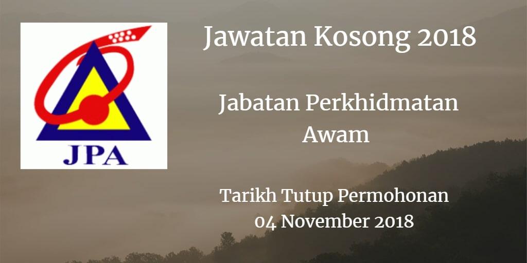 Jawatan Kosong JPA 04 November 2018
