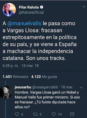 Pilar Rahola , Manuel Valls, Vargas Llosa