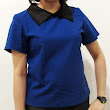 Blue top with black collar