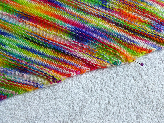 Couthie shawl - blocking