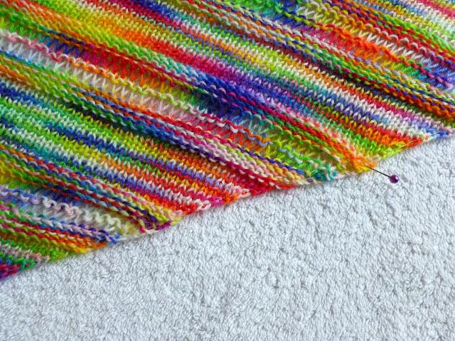 Couthie shawl - blocking