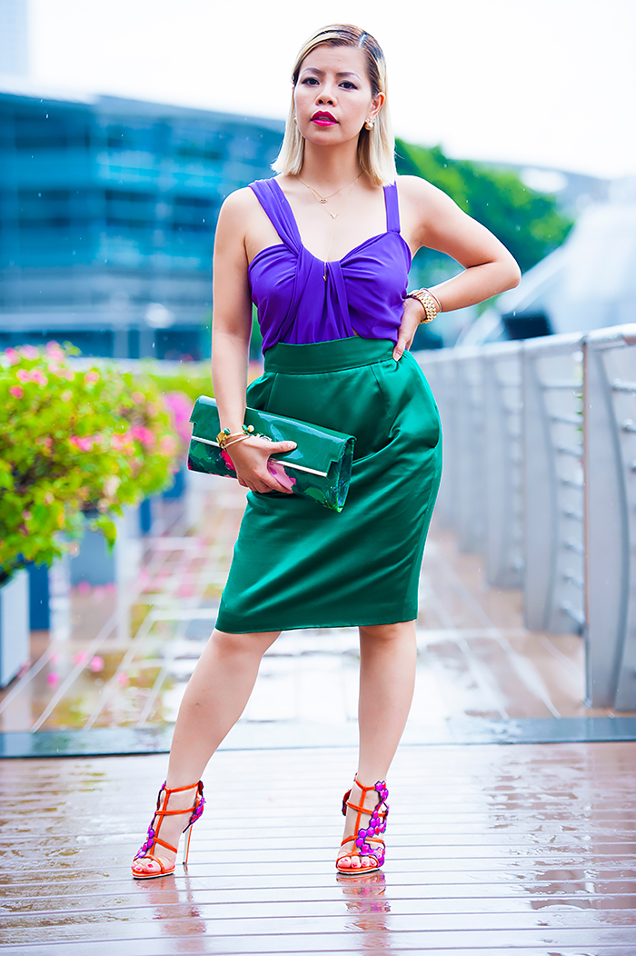 Fashion Blogger Crystal Phuong dressed in Gucci Color Block Dress
