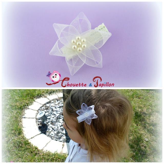 barrette bébé, barrette anti glisse, barrette enfant , cérémonie fleur organza
