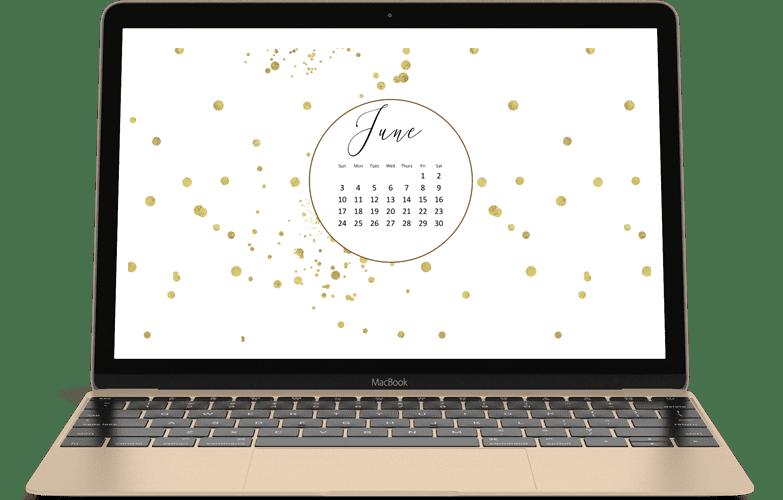 June 2018 calendar desktop freebie. Stylish with gold glitter.