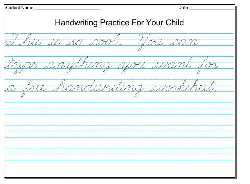 Free Printable Cursive Writing Worksheets