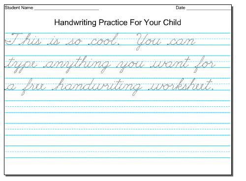 Free Name Handwriting Worksheets – Make Your Own Handwriting Worksheets