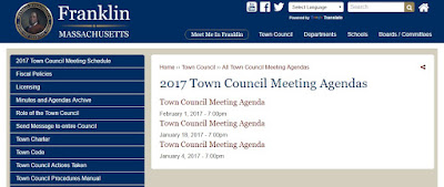 screen grab of Town Council agenda page