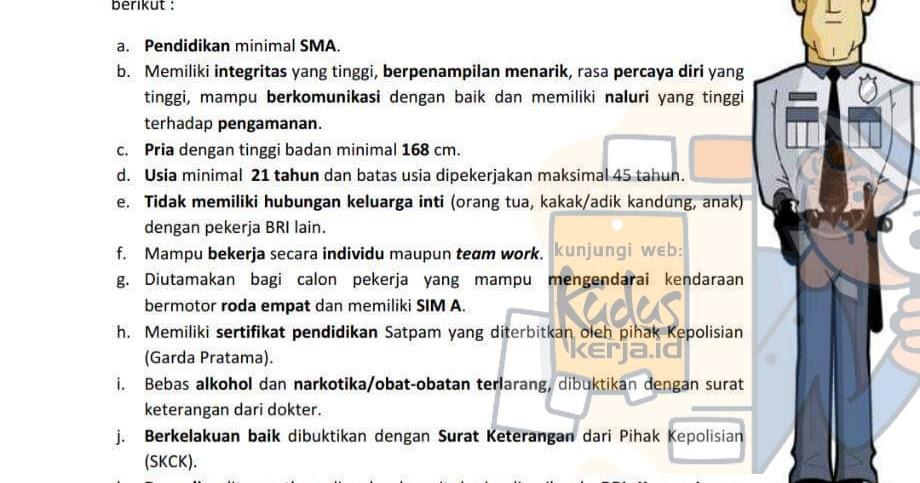 Informasi Lowongan Kerja Satpam Pt Bank Rakyat Indonesia border=
