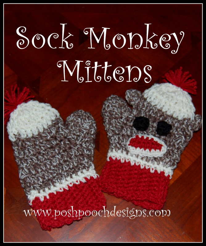 Posh Pooch Designs Dog Clothes Sock Monkey Mittens Crochet Pattern