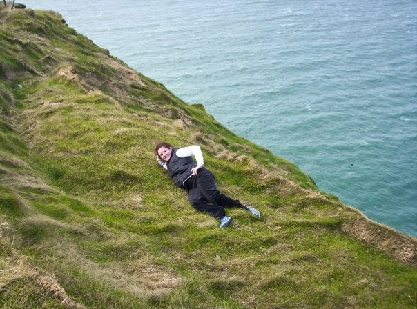 Meg on Ireland Cliffside