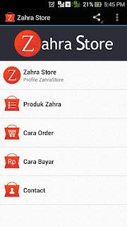 Aplikasi Android Online Shop Zahra Store