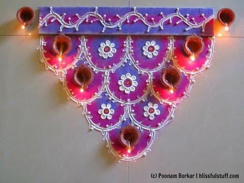 Easy and colorful semi circle rangoli for diwali, Innovative rangoli designs by Poonam Borkar