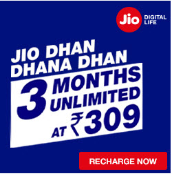 All Unlimited at Rs. 309/- Only at JIO Dhan Dhana Dhan