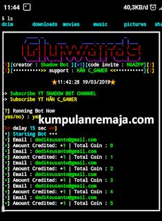 Sukses nuyul Aplikasi Gluwards dengan Termux