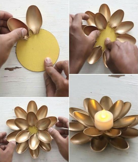 tutorial para hacer un original candelabro a base de cucharas de plastico