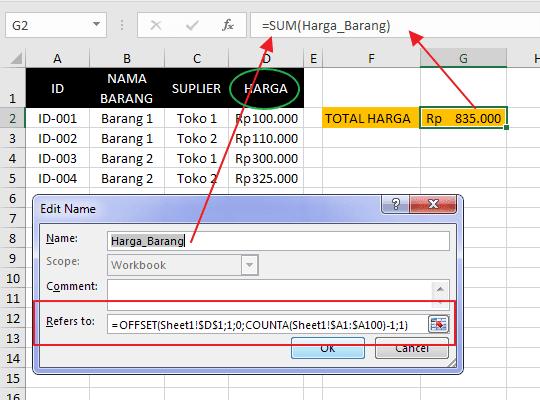 Cara Membuat Nama Range Dinamis pada Excel 6