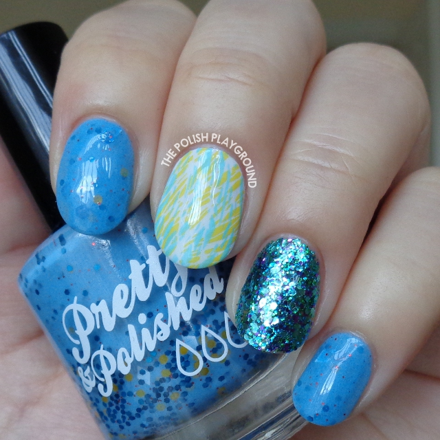 Blue and Yellow Texture Double Stamping Nail Art