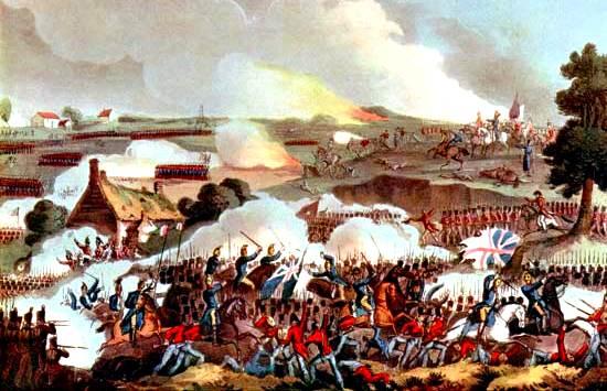 Ejército británico que resiste una carga por la caballería francesa, batalla de Waterloo, 1815,