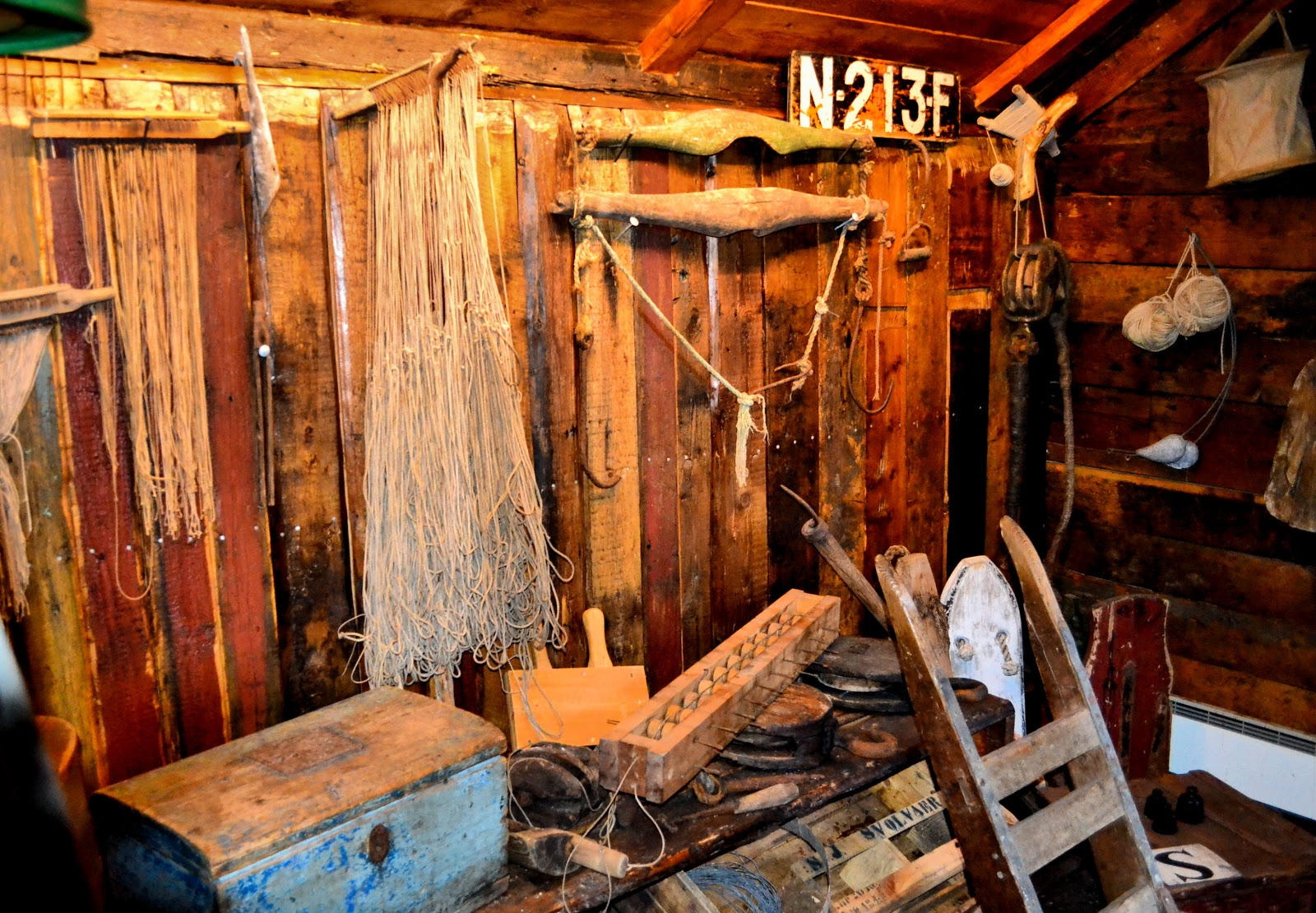 The front room was used to store fishing equipment including nets, salting barrels, lines, tools and the day's catch.