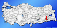 Batman ilinin Türkiye haritasında gösterimi