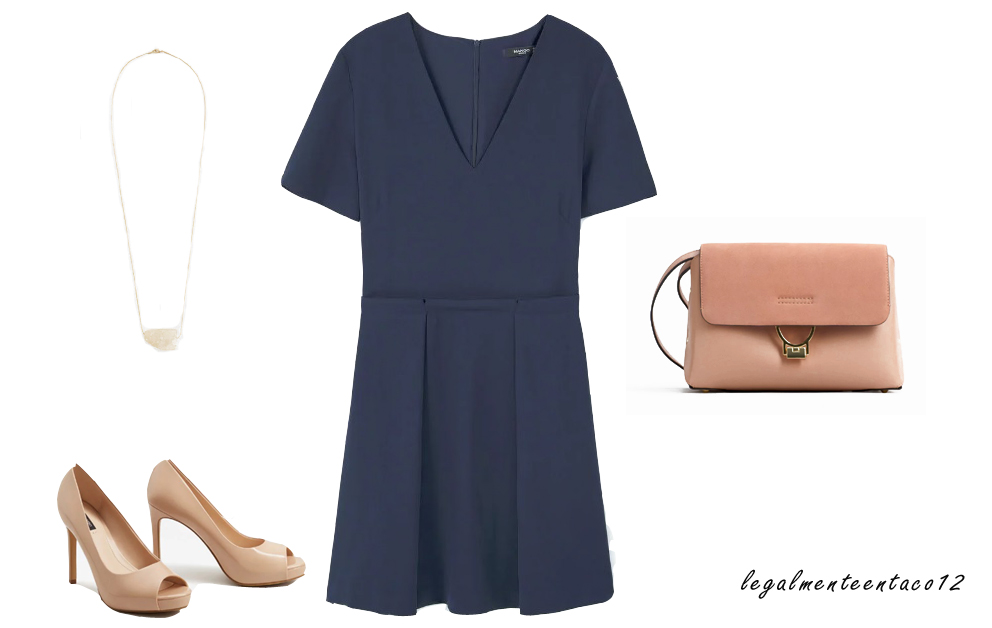 look vestido azul