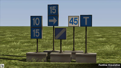Fastline Simulation: A selection of early 1980's blue lettered battery powered temporary speed restriction signs.
