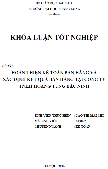 Hoàn thiện kế toán bán hàng và xác định kết quả bán hàng tại Công ty TNHH Hoàng Tùng Bắc Ninh