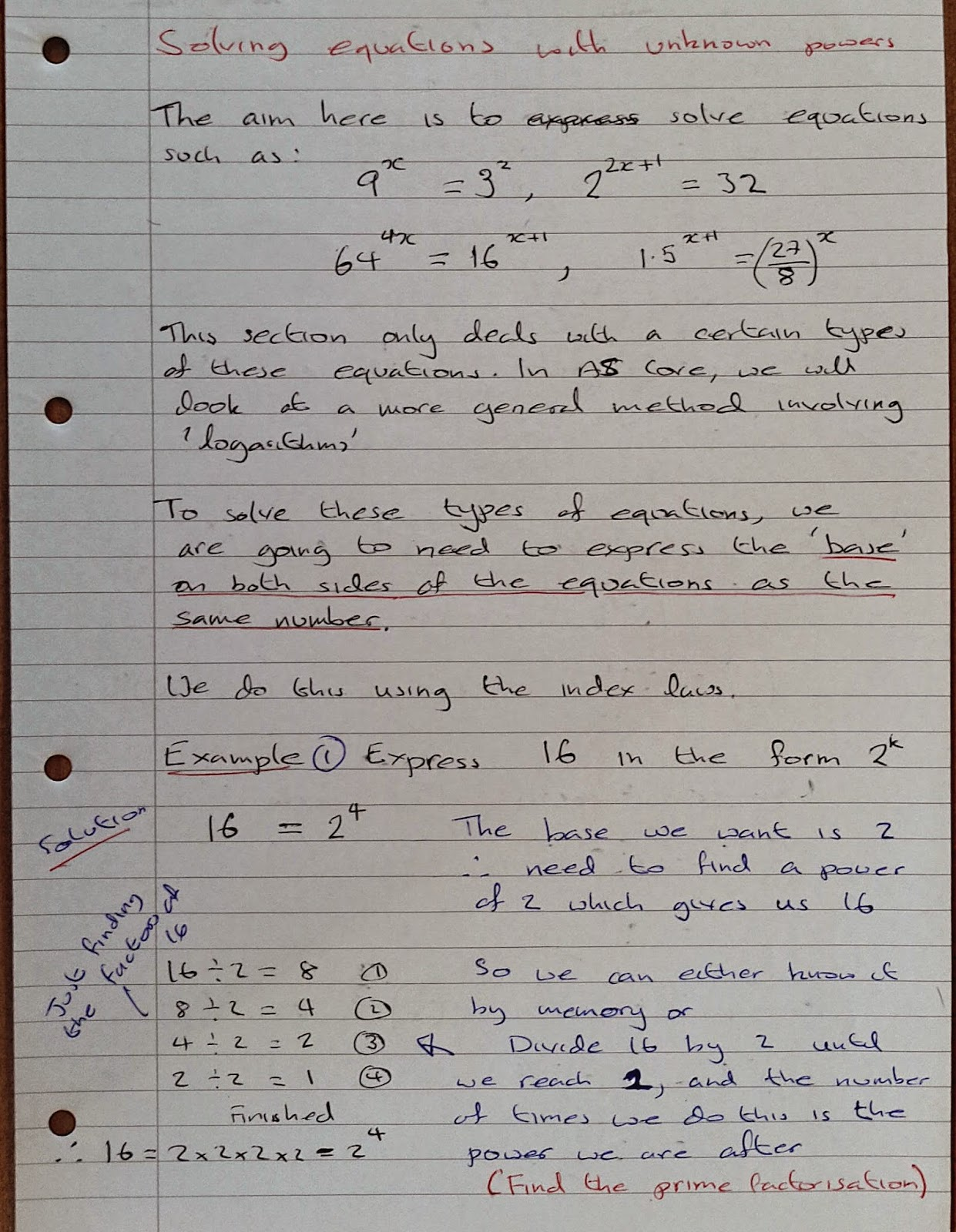 A Level Maths Notes As Indices Solving Equations With Unknown Powers Part 1