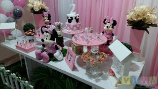 Decoração festa infantil Minnie Rosa