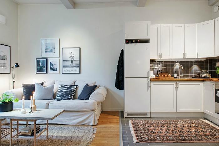 cocina y salón en un mismo espacio