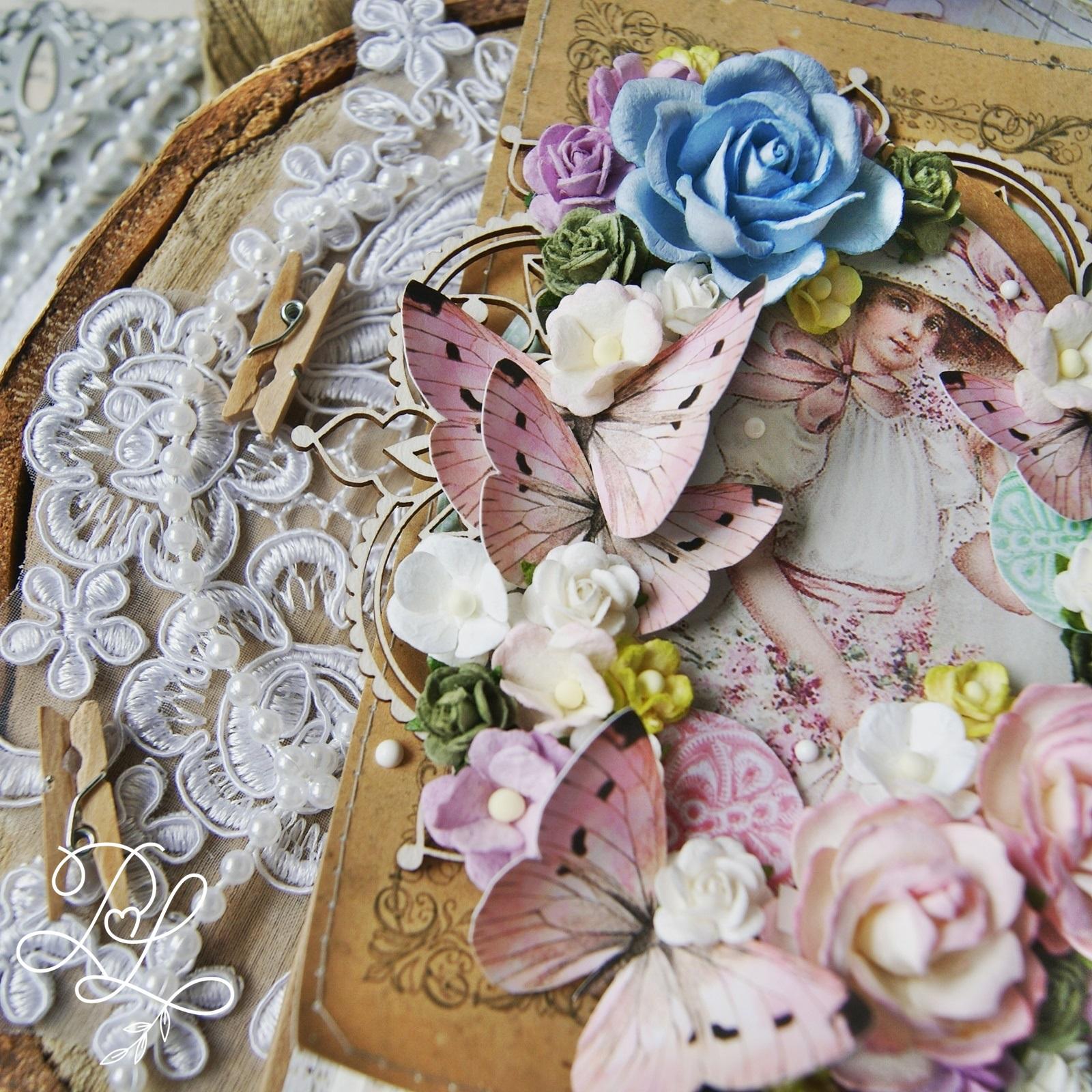 Kreatywna, warstwowa, kwiatowa kartka okolicznościowa - Papierowe Love - sklep papierniczy i pracownia rękodzieła Katarzyna Rajczakowska.