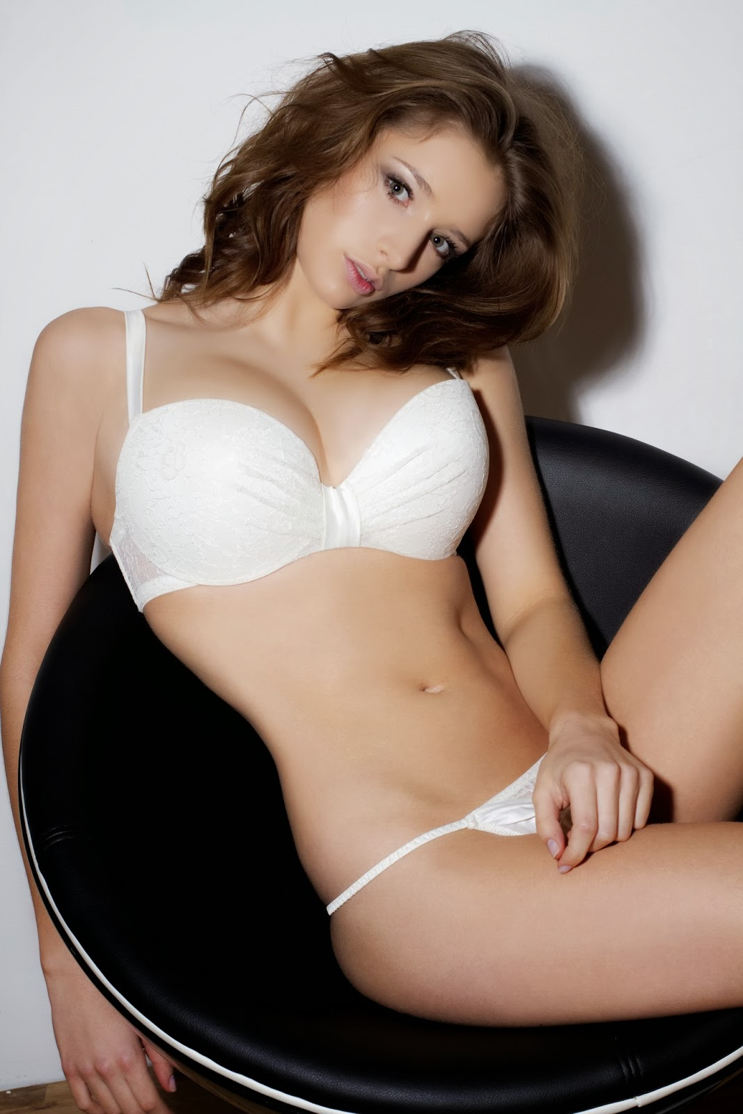 Emily Shaw Topless White Lingerie Covered With