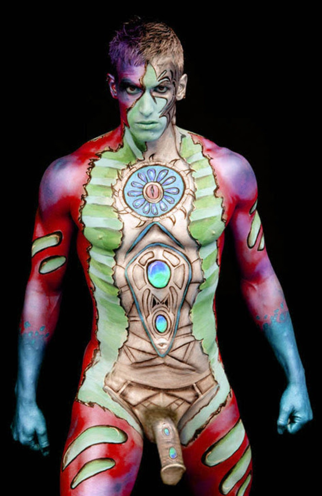 I Am A Super Cute Red Monster / 19 Years Old Boy Bodypaint / Body Paint #2