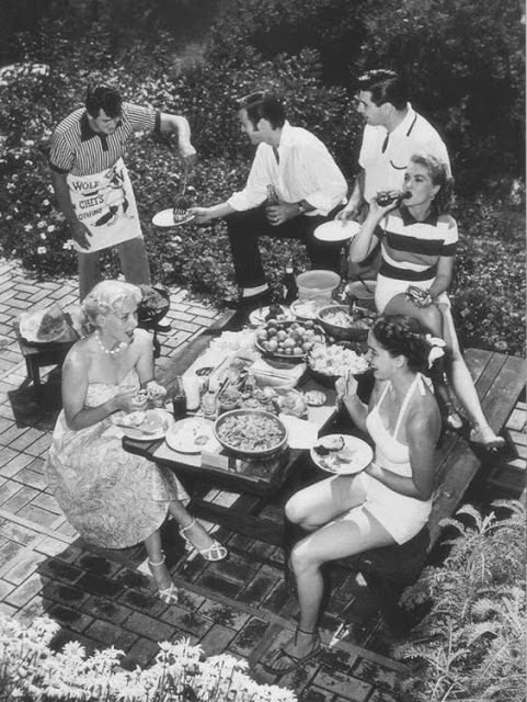 Promotional photos of a barbecue party at Rock Hudson's place, 1952. The Burbs and Other stories of Marketing the American Dreams. Marchmatron.com