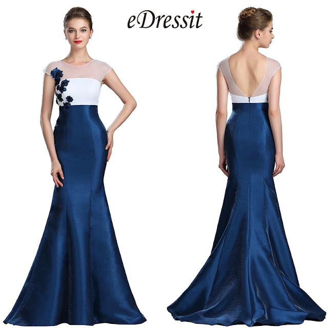 eDressit White & Blue Floral Mermaid Ladies Dress Ball Gown