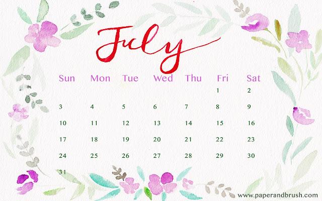 Paper and Brush - July 2016 calendar wallpaper