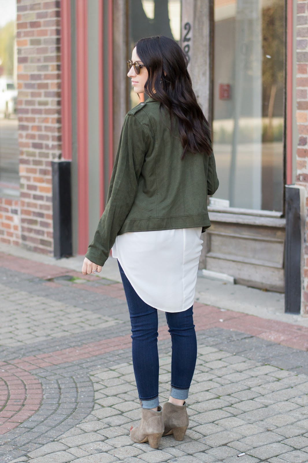 Suede Moto Jacket with longer layered tunic