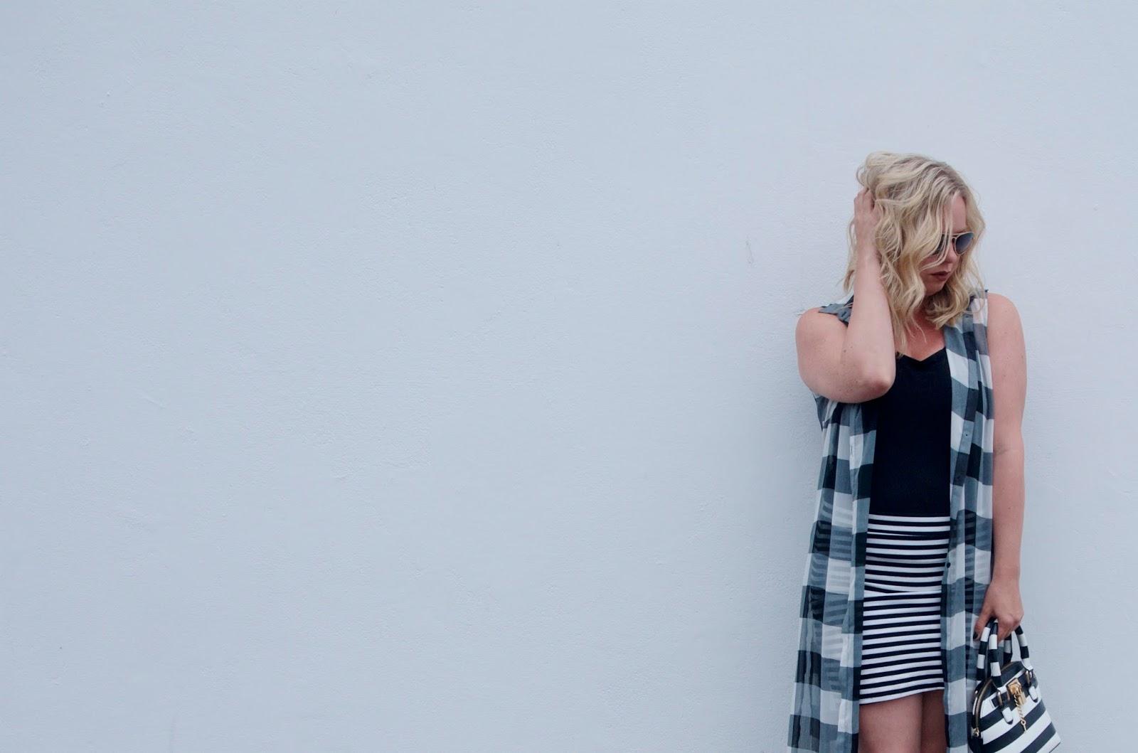 gingham vest and striped skirt