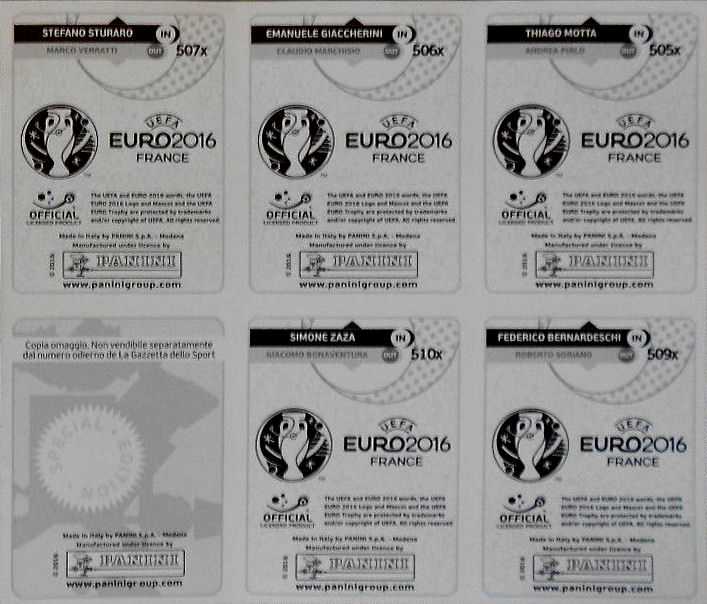 Uefa euro 2016 france update stickers panini italy