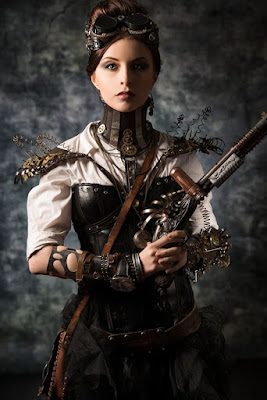 Another overbust corset used in women's steampunk fashion. This woman is wearing her overbust corset with a blouse and skirt.