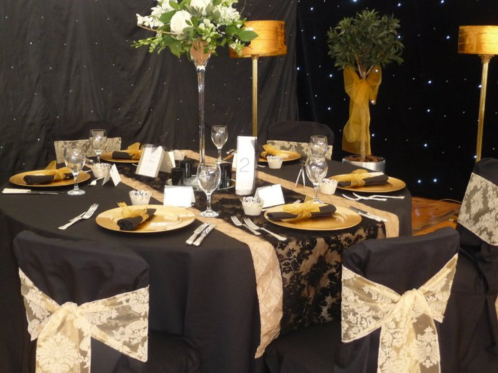 Gold Chair Covers With Black Sash Sun Lounge Chairs Kmart Simply Bows Inspiration For Your Flock Sashes On Pintuck Runner And Damask