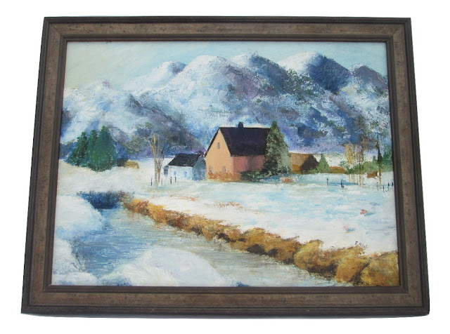 Oil Painting Snowy Farm in the Rockies by Emily Faw