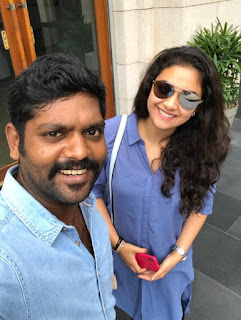 Keerthy Suresh in Blue Dress with Cute and Lovely Smile with a Lucky Fan Latest Selfie